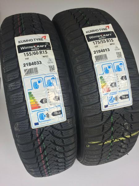 Winterreifensatz 155/60R15 & 175/55R15 smart ForTwo 451