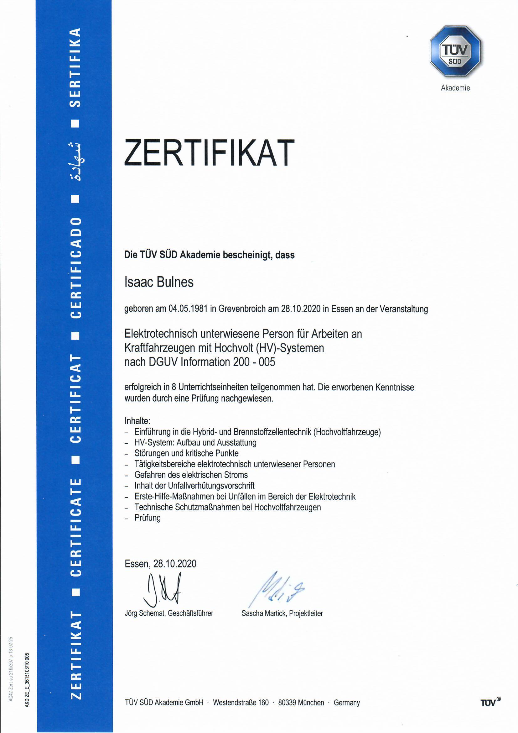 Zertifikat-Isaac