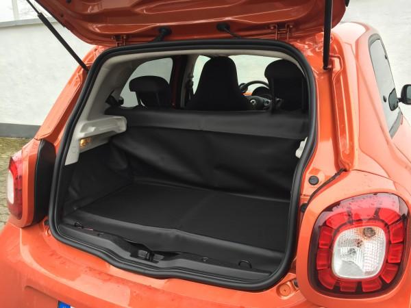 Kofferraumabdeckung mit Hundeschutzdecke smart forfour 453 + Renault Twingo